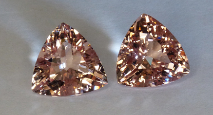 morganite matched trilliant pair