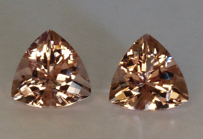morganite trilliants matched pair