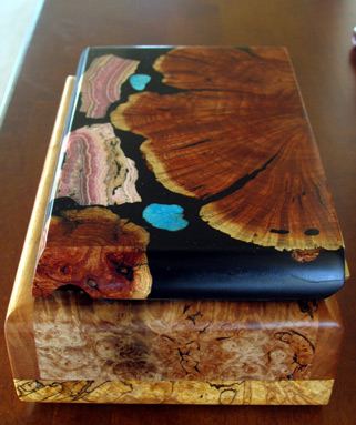 hand-made inlaid wooden jewelry box