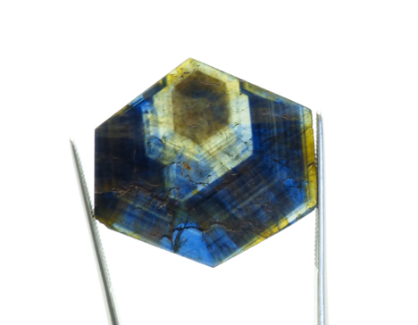 multi-colored sapphire crystal slice