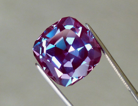 synthetic alexandrite faceted gemstone