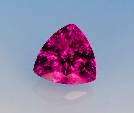 large glowing magenta rubellite tourmaline trilliant