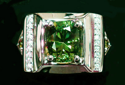 demantoid and diamond men's ring