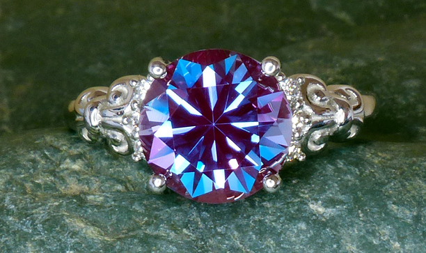 synthetic alexandrite set in platinum ring with diamonds