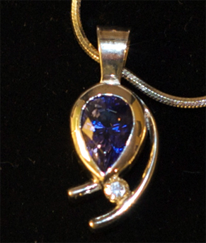 All That Glitters tanzanite set into custom jewelry