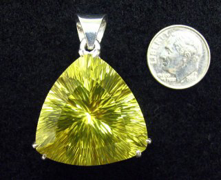 large lemon quartz sterling pendant