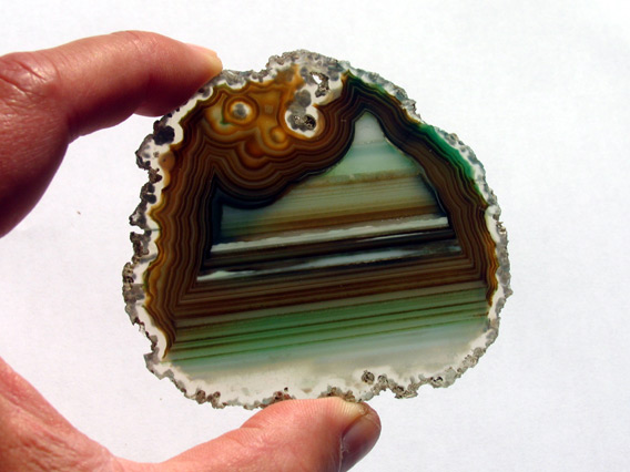 striated agate slice