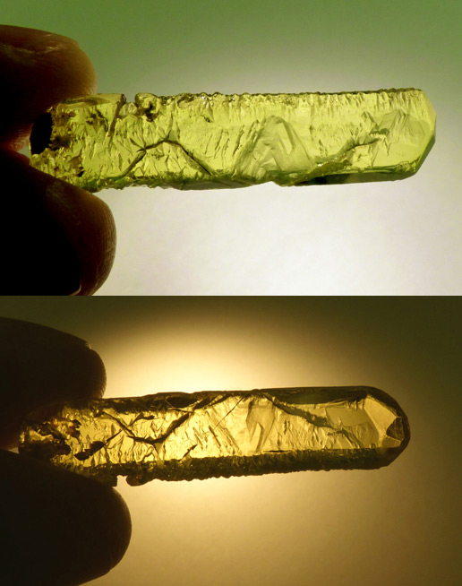 etched yellow beryl crystal