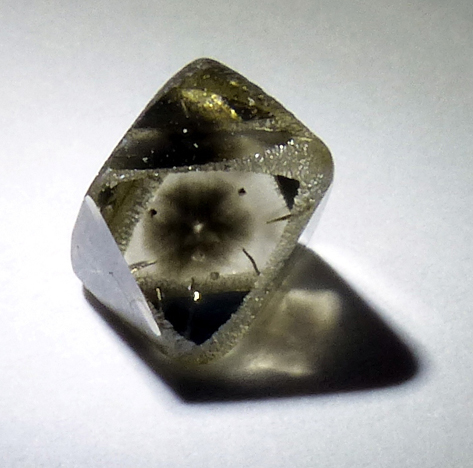 natural diamond crystal with hydrogen cloud