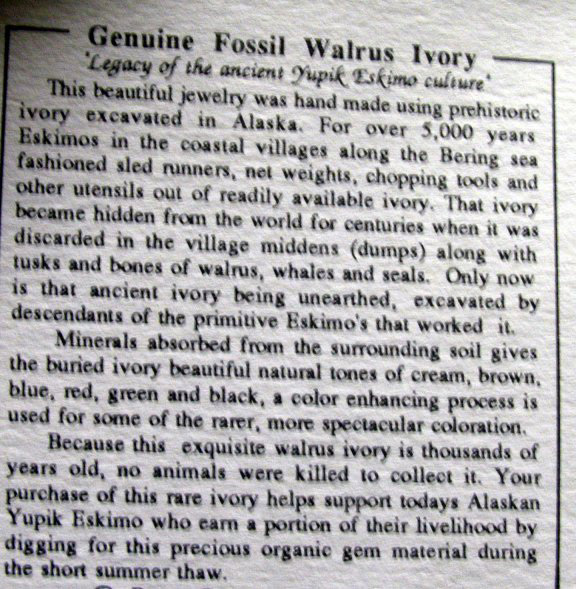 published fossilized walrus ivory scrimshaw