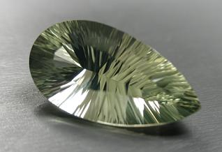 published green quartz concave faceted