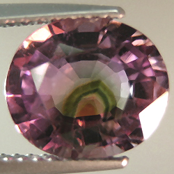 published pink tourmaline with internal watermelon