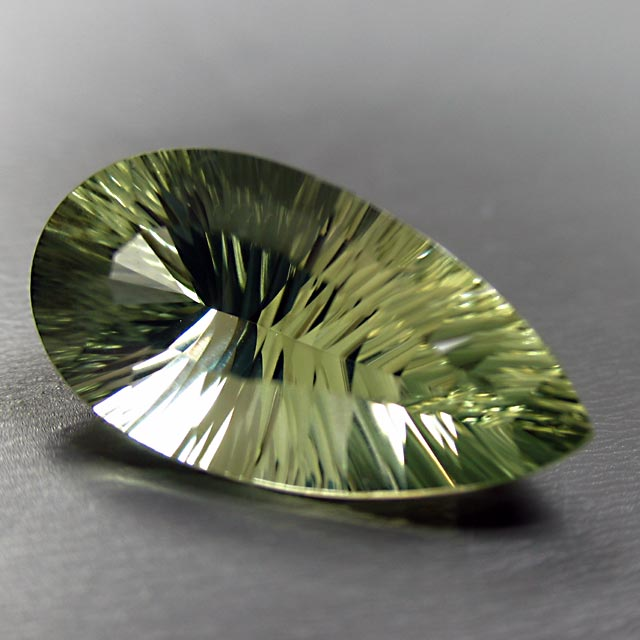 concave green quartz pear